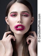 rose, enduit, girl, rouge lèvres