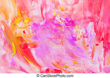 rose, enfant, coups, résumé, -, brosse, peinture