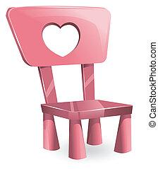 rose, enfants, chaise, vecteur, illustration