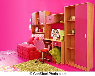 rose, enfants, salle