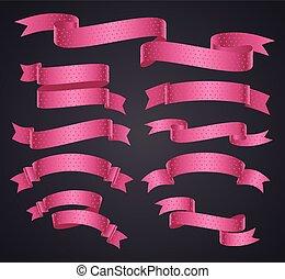 rose, ensemble, bannière courbe, ou, ruban