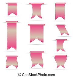 rose, ensemble, eps10, pendre, courbé, bannières, ruban