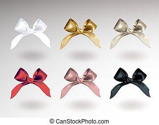 rose, ensemble, illustration., réaliste, knots., vecteur, six, isolé, objet, argent, élégant, arcs, arrière-plan noir, blanc, blanc, shadow., doré, rouges