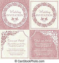 rose, ensemble, mariage, beige, invitation, baroque