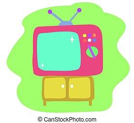 rose, ensemble, tv, arrière-plan., vert, retro