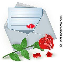 rose, enveloppe