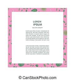 rose, espace, modèle, feuilles, text., exotique, cadre
