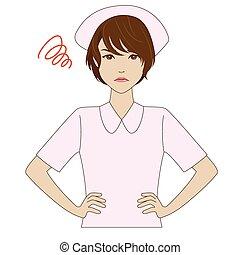 rose, fâché, infirmière, uniforme