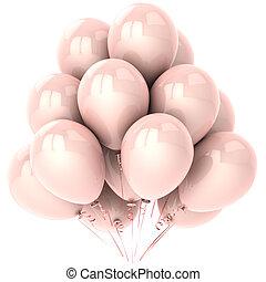 rose, fête, clair, ballons, coloré