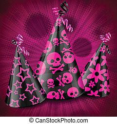 rose, fête, goth, chapeaux