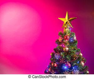 rose, fête, lumières arbre, fond, noël