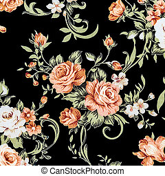 Rose Fabric background, Fragment of colorful retro tapestry ...