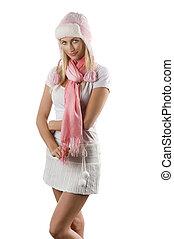 rose, femme, écharpe