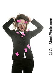 rose, femme affaires, multi tâche, notes