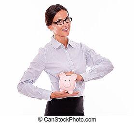 rose, femme affaires, porcelaine, porcin, tenue, banque