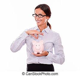 rose, femme affaires, porcin, tenue, sourire, banque