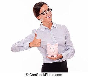 rose, femme affaires, satisfait, porcin, tenue, banque