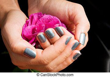 rose, femme, arrangé, manucure