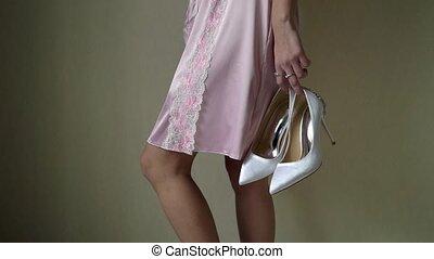 rose, femme, chaussures, jeune, lingerie, tenue, sexy