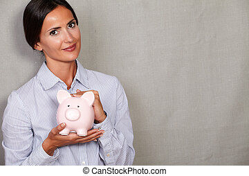 rose, femme, financier, porcin, tenue, banque
