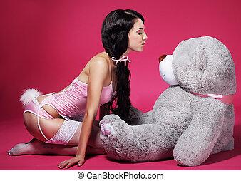 rose, femme, ours peluche, espiègle, lingerie, séduisant