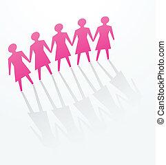 rose, femme, papier, bureau