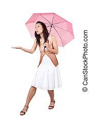 rose, femme, parapluie