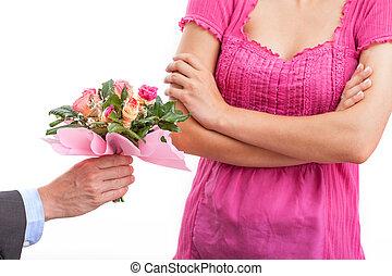 rose, femme, peu disposé