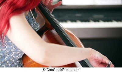 rose, femme, salle, emotionally, cheveux, violoncelle, jouer