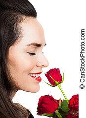 rose, femme, sentir