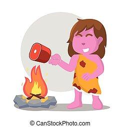 rose, femme, viande, brûler, cuisine, caverne