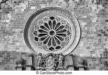 rose fenster, von, der, otranto, kathedrale, salento, italien