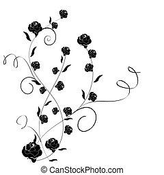rose, feuilles, graphique