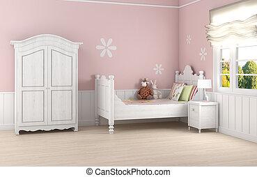 rose, fille, chambre à coucher