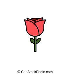 Rose. Filled color icon. Flower vector illustration - Rose. ...
