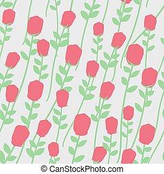 rose, fiori, pattern., seamless, rosso