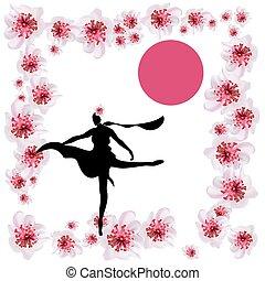 rose, fleur, cerise, japonaise, jeune, cheveux, girl., sakura, fleurs, robe