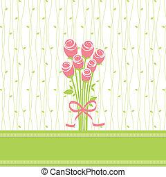 rose, fleurs, carte voeux