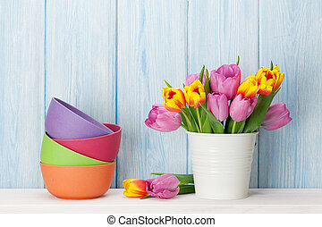 rose, fleurs fraîches, bouquet, tulipe