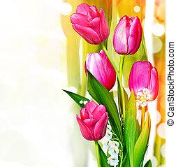 rose, fleurs ressort, tulips.