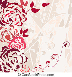 Rose floral card with grunge background