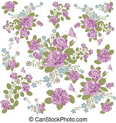rose flower and butterfly background pattern