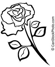 Rose flower black outline
