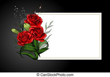 Rose flower bouquet on white frame with black border strict...