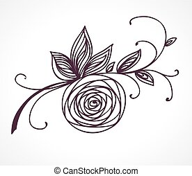 Rose flower. Decorative floral design element.