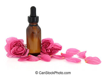 Rose Flower Essence - Rose flower petals and buds with...