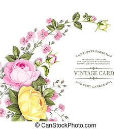 Rose flower garland for invitation card. Invitation card template with blooming flowers and custom text isolated over white. Pink rose flowers on the white background.