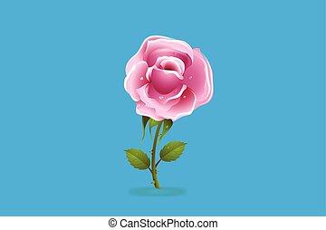 Rose flower icon logo card