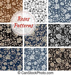 Rose flower seamless patterns set