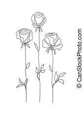 Rose flower set. Continuous drawing. Line art concept design. Stylish modern trend pattern